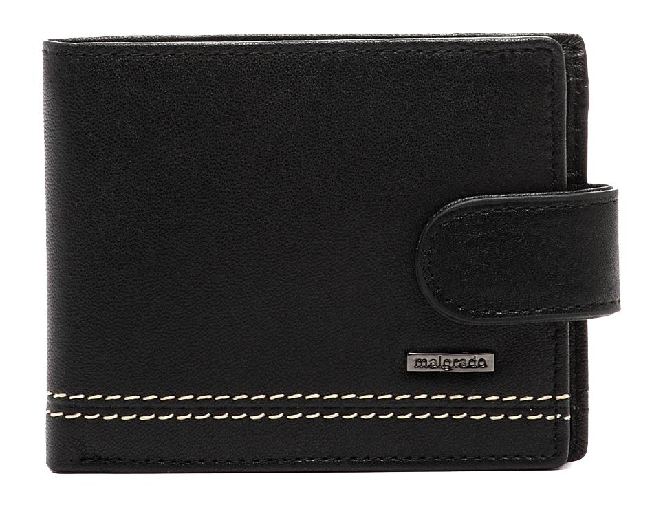 Портмоне Malgrado, цвет: черный. 32001-9-55D Black35027-5402D CoffeeПортмоне Malgrado выполнено из высококачественной натуральной кожи черного цвета с логотипом фирмы, украшено двойной строчкой. Портмоне имеет два кармана для купюр, шесть отделений для визиток, два скрытых кармашка.Портмоне закрывается хлястиком на кнопку. Это элегантное портмоне непременно подойдет к вашему образу и порадует простотой, стилем и функциональностью. Портмоне упаковано в коробку из плотного картона с логотипом фирмы. Характеристики: Материал: натуральная кожа, текстиль, металл. Размер портмоне в сложенном виде: 11 см х 8 см х 1 см.