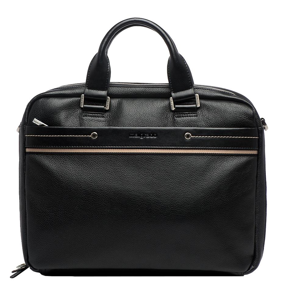 Сумка мужская Malgrado, цвет: черный. BR09-322С1836S76245Стильная мужская сумка Malgrado выполнена из натуральной кожи черного цвета. Сумка имеет одно основное отделение, которое закрывается на молнию. Внутри - смежный кармашек, кармашек на кнопке для бумаг, вшитый кармашек на молнии, кармашек для планшета на липучке, открытый кармашек для бумаг, два кармашка для мелочей и телефона, два кармашка для визиток или кредитных карт, два фиксатора для пишущих принадлежностей. С передней и задней стороны имеется два отделения на молнии. Сумка оснащена двумя удобными ручками и отстегивающимся плечевым ремнем регулируемой длины с накладкой для плеча. Фурнитура - серебристого цвета.Стильная мужская сумка Malgrado идеально подчеркнет ваш образ. Характеристики: Материал: натуральная кожа, текстиль, металл. Размер сумки (ДхШхВ): 42 см х 9 см х 31 см. Длина плечевого ремня: 70-140 см. Высота ручек: 12 см. Цвет: черный.