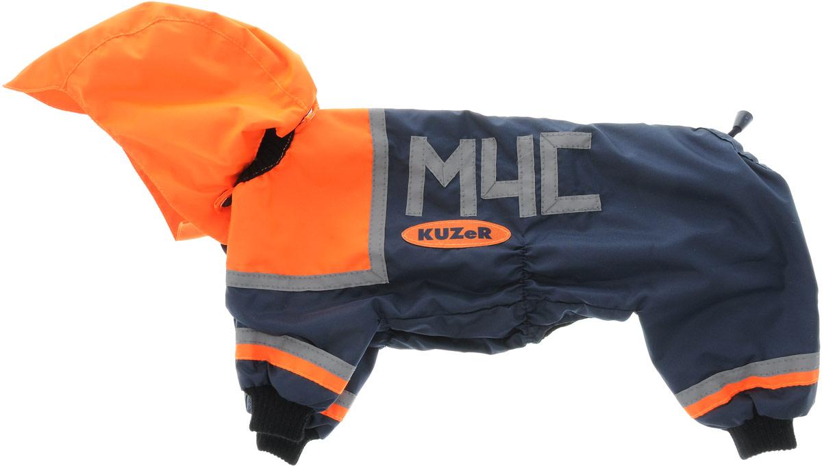 Комбинезон для собак Kuzer-Moda МЧС, для мальчика, двухслойный, цвет: синий, оранжевый. Размер 2552001045Комбинезон Kuzer-Moda МЧС предназначен для собак мелких пород. Изделие отлично подойдет для прогулок в прохладную погоду.Комбинезон изготовлен из прочной ткани, которая сохранит тепло и обеспечит отличный воздухообмен. Комбинезон застегивается на кнопки, благодаря чему его легко надевать и снимать. Ворот, низ рукавов и брючин оснащены резинками, которые мягко обхватывают шею и лапки, не позволяя просачиваться холодному воздуху. На пояснице имеются затягивающиеся шнурки, которые также помогают сохранить тепло.Благодаря такому комбинезону простуда не грозит вашему питомцу, и он не даст любимцу продрогнуть на прогулке.Размер: 25.Обхват: груди: 36 см.Обхват шеи: 16 см.