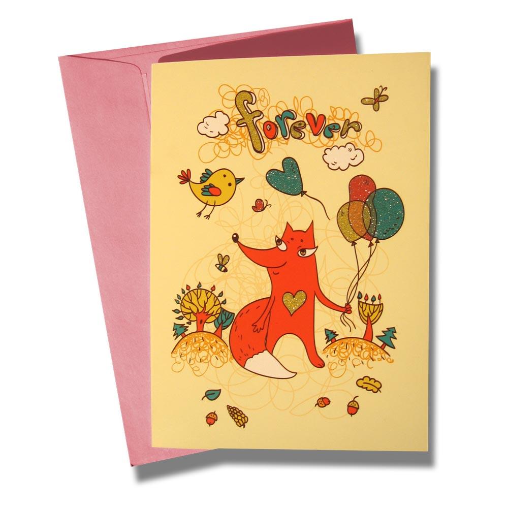 Открытка BORЯN Вечно влюбленная. 001-30390684Поздравительная открытка Вечно влюбленная станет чудесным дополнением к подарку по любому поводу или милым сюрпризом, знаком внимания любимой женщине, подруге. На открытке изображена лисичка, держащая шарики, на фоне лесного пейзажа.Открытка поставляется в комплекте с подарочным конвертом трех цветов в ассортименте: розовый, голубой или желтый.Серия Лесная сказка - открытки с романтическим сюжетом, ярким оформлением и запоминающимся дизайном.Творческая Мастерская BORЯN ® предлагает коллекцию авторских поздравительных открыток для оформления подарков.Красиво оформленный подарок - искусство! Характеристики: Материал: картон. Размер открытки: 10,5 см х 14,8 см. Размер конверта: 11,4 см х 16,2 см. Артикул: 001-303.