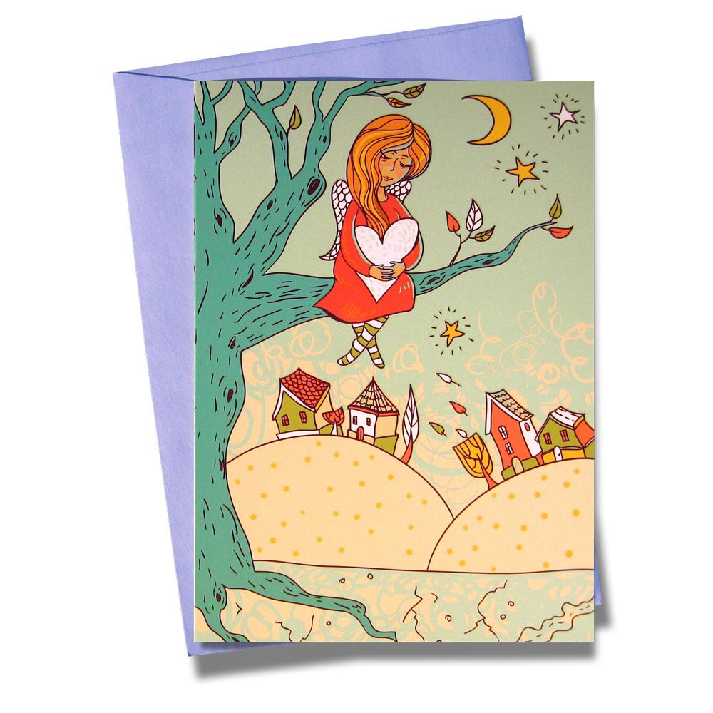 Открытка BORЯN Дерево надежды. 001-30490110Самое прекрасное на свете - любовь! Не всем дано умение красиво и убедительно выразить свою любовь словами. Поздравительная открытка Дерево надежды станет чудесным дополнением к подарку любимому человеку.Ангел, хранящий сердце, сидит на дереве на фоне осеннего пейзажа.Использование лака в процессе печати придает открытке изысканный вид.Открытка поставляется в комплекте с подарочным конвертом.Серия Нежность - открытки с романтическим сюжетом, ярким оформлением и запоминающимся дизайном.Творческая Мастерская BORЯN ® предлагает коллекцию авторских поздравительных открыток для оформления подарков.Красиво оформленный подарок - искусство! Характеристики: Материал: картон. Размер открытки: 10,5 см х 14,8 см. Размер конверта: 11,4 см х 16,2 см. Артикул: 001-304.