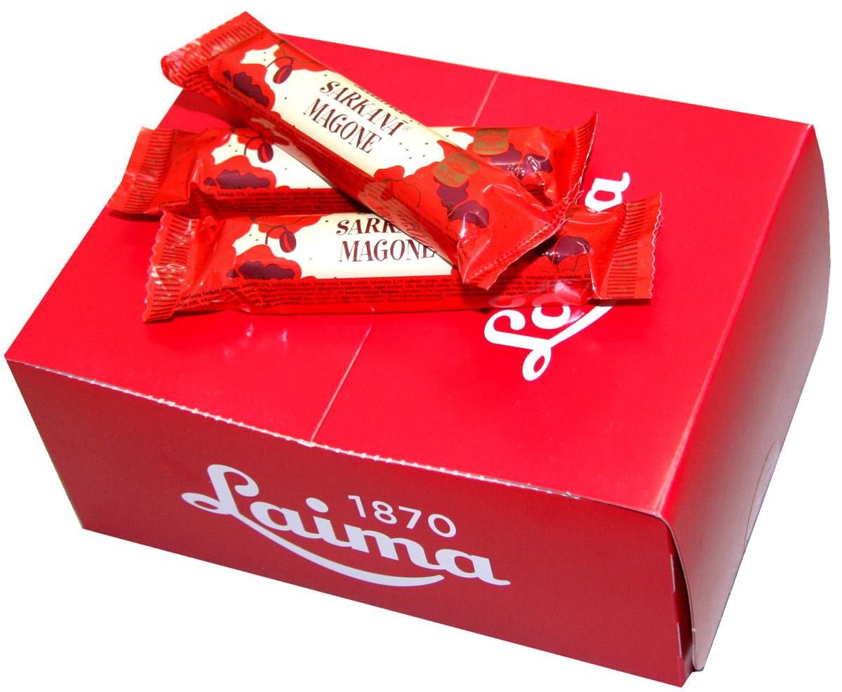 Laima Красный мак Шоколадный батончик, 24 шт по 40 г0120710Шоколадная крупная конфета-батончик с начинкой с криспами карамели.