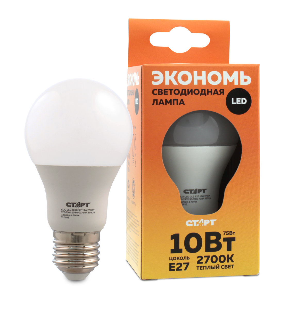 Лампа светодиодная СТАРТ, теплый свет, цоколь E27, 10W10662Светодиодная лампа СТАРТ – это самый энергоэффективный источник света, при этом имеющий рекордный срок службы. Светодиодные лампы – изделия прочные, не боятся падения с высоты человеческого роста, встрясок и вибраций. Лампа не имеет вредных материалов в своем составе, а также в процессе эксплуатации светодиодная лампа не излучает ИК- и УФ-лучи.Мощность, Вт: 10.Световой поток, Лм: 800.Напряжение: 220-240 V.Цоколь: E27.Угол светового пучка: 240°.Цветовая температура, К: 2700.Срок службы, часов: 15000.