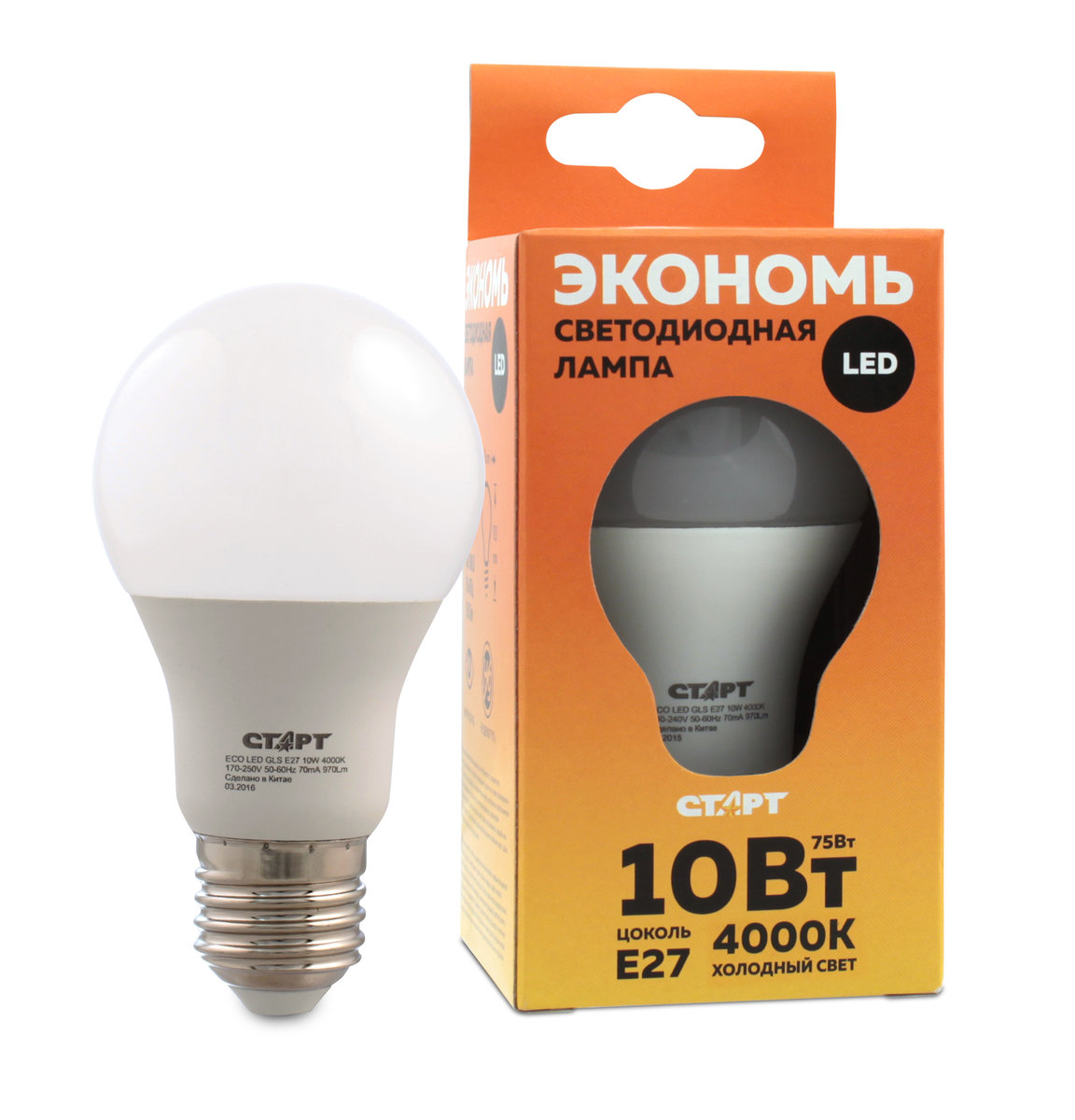 Лампа светодиодная СТАРТ, холодный свет, цоколь E27, 10WLkecLED13wA60E2745Светодиодная лампа СТАРТ – это самый энергоэффективный источник света, при этом имеющий рекордный срок службы. Светодиодные лампы – изделия прочные, не боятся падения с высоты человеческого роста, встрясок и вибраций. Лампа не имеет вредных материалов в своем составе, а также в процессе эксплуатации светодиодная лампа не излучает ИК- и УФ-лучи. Мощность, Вт: 10.Световой поток, Лм: 800.Напряжение: 220-240. Цоколь: E27.Угол светового пучка: 240°.Цветовая температура, К: 4000.Срок службы, часов: 15000.