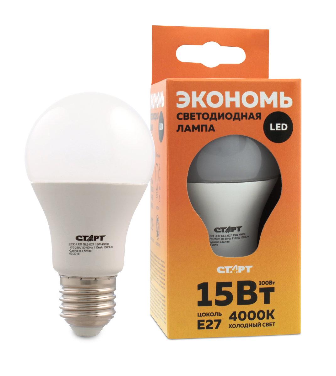 Лампа светодиодная СТАРТ, холодный свет, цоколь E27, 15WRSP-202SСветодиодная лампа СТАРТ – это самый энергоэффективный источник света, при этом имеющий рекордный срок службы. Светодиодные лампы – изделия прочные, не боятся падения с высоты человеческого роста, встрясок и вибраций. Лампа не имеет вредных материалов в своем составе, а также в процессе эксплуатации светодиодная лампа не излучает ИК- и УФ-лучи.Мощность, Вт: 15.Световой поток, Лм: 1200.Напряжение и частота: 220-240 V.мЦоколь: E27.Угол светового пучка: 240°Цветовая температура, К: 4000.Срок службы, часов: 15000.