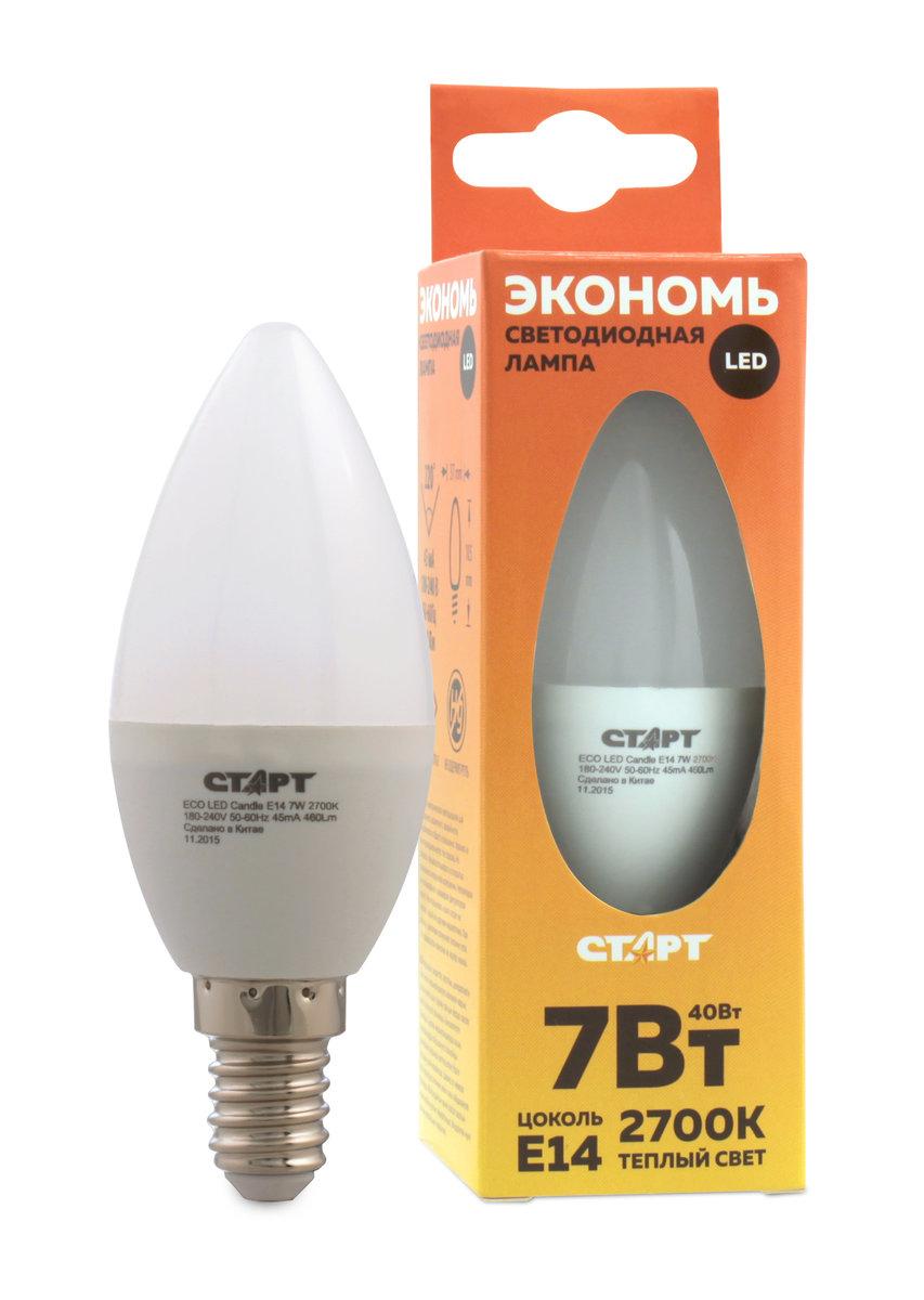 Лампа светодиодная СТАРТ, теплый свет, цоколь E14, 7WLkecLED6.5wCNE1430Светодиодная лампа СТАРТ - это самый энергоэффективный источник света, при этом имеющий рекордный срок службы. Светодиодные лампы - изделия прочные, не боятся падения с высоты человеческого роста, встрясок и вибраций. Лампа не имеет вредных материалов в своем составе, а также в процессе эксплуатации светодиодная лампа не излучает ИК- и УФ-лучи.Мощность, Вт: 7.Световой поток, Лм: 520.Напряжение: 220-240 V.Цоколь: E14.Угол светового пучка: 240°.Цветовая температура, К: 2700.Срок службы, часов: 15 000.
