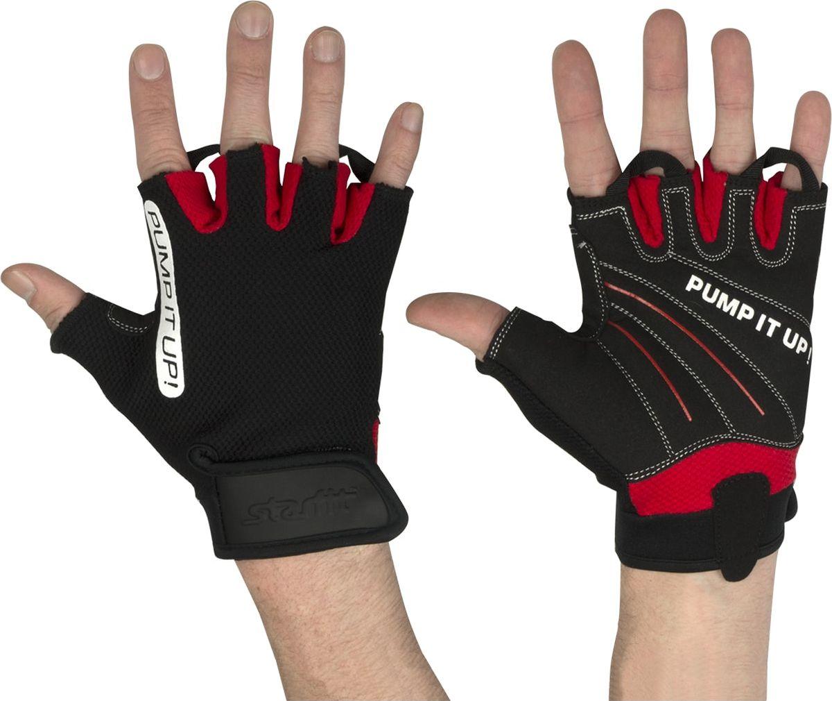 Перчатки для фитнеса Starfit  SU-119 , цвет: черный, красный. Размер XS - Одежда, экипировка