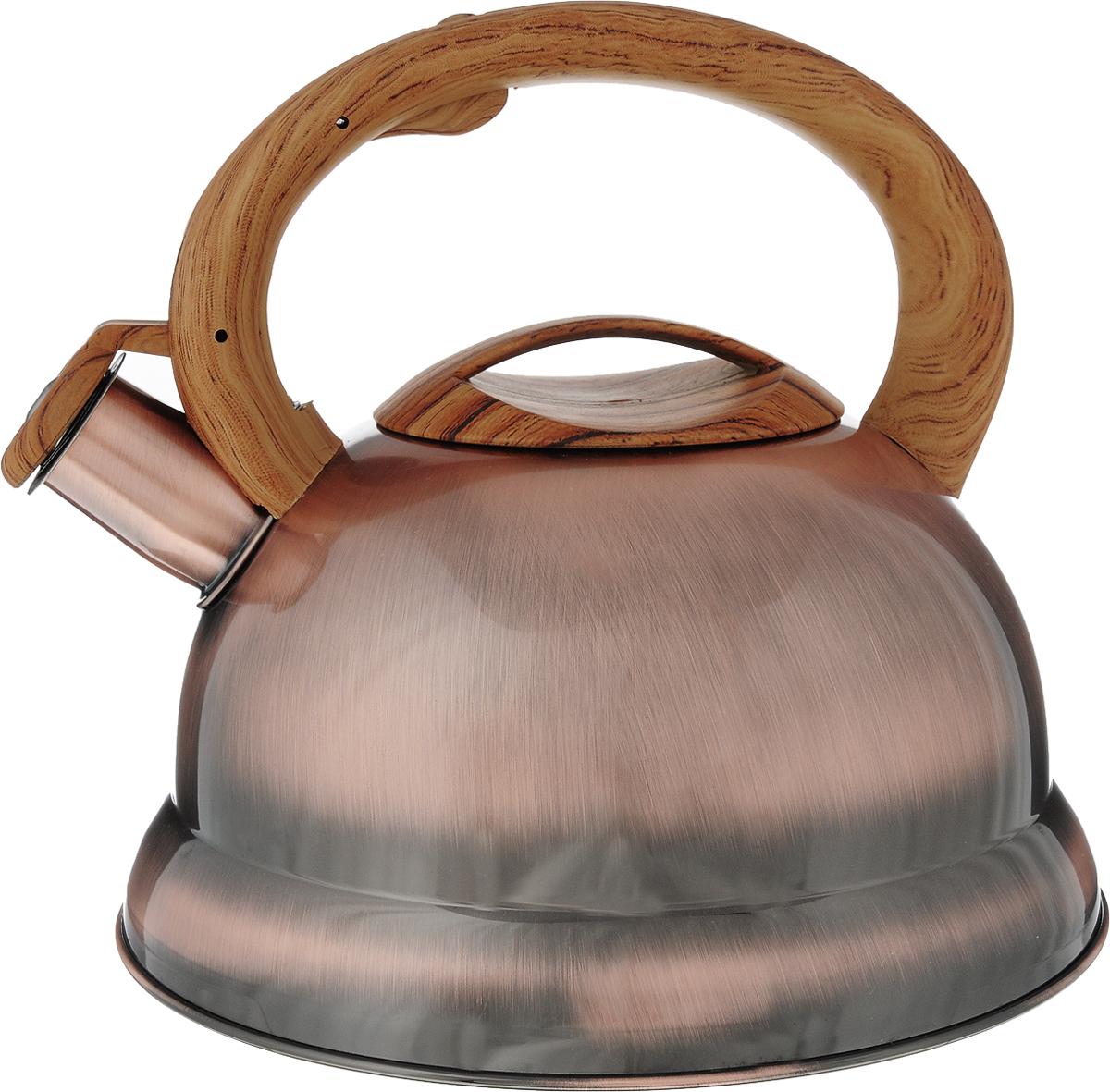 Чайник Bekker, со свистком, цвет: бронзовый, 3,5 л. BK-S413115510Чайник Bekker выполнен из высококачественной нержавеющей стали, что обеспечивает долговечность использования. Внешнее глянцевое покрытие придает приятный внешний вид. Бакелитовая фиксированная ручка делает использование чайника очень удобным и безопасным. Крышка и ручка декорированы под дерево. Чайник снабжен свистком и устройством для открывания носика, которое находится на ручке. Изделие оснащено цельнометаллическим дном, что способствует медленному остыванию чайника.Можно мыть в посудомоечной машине. Пригоден для всех видов плит, включая индукционные.Диаметр чайника по верхнему краю: 9,5 см. Высота чайника (без учета крышки и ручки): 13 см.Высота чайника (с учетом ручки): 20 см.