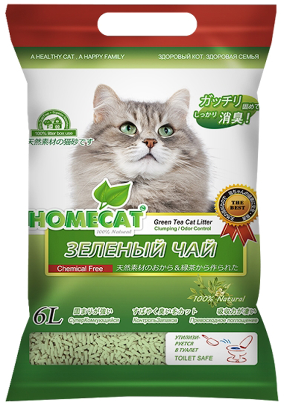 Наполнитель для кошачьего туалета Homecat Эколайн. Зеленый чай, комкующийся, 6 л0120710Наполнитель для кошачьего туалета Homecat Эколайн. Зеленый чай - экологически чистый, безопасный и на 100% биоразлагаемый, изготовленный из растительного сырья, комкующийся наполнитель для кошачьих туалетов. С повышенной способностью водопоглощения и блокирования запаха. Безопасен для животного и человека.Поддерживает чистоту кошачьего туалета длительное время, подавляет запах, предотвращает рост бактерий. Обладает повышенным абсорбирующими свойствами, отлично удерживает влагу и запах внутри комка. Легкое удаление комков..Сверхнизкое содержание пыли. Натуральное сырье характеризуется приятной мягкостью и максимальным отсутствием пыли, обеспечивает приятные ощущения для кошачьих лап и органов дыхания..При производстве используется термообработка для уничтожения вредных микроорганизмов.Проходит несколько тестов безопасности.Добавление натуральных ароматизаторов позволяет долго поддерживать приятный аромат наполнителя..Вакуумная упаковка предотвращает появление бактерий и микроорганизмов..Сверхбыстрое образование комка, который легко удаляется из кошачьего туалета. Впитывает во много раз больше собственного объема. Образовавшиеся комочки после уборки можно утилизировать непосредственно в унитаз..Удобная упаковка. С удобной ручкой. Яркий и привлекательный дизайн.