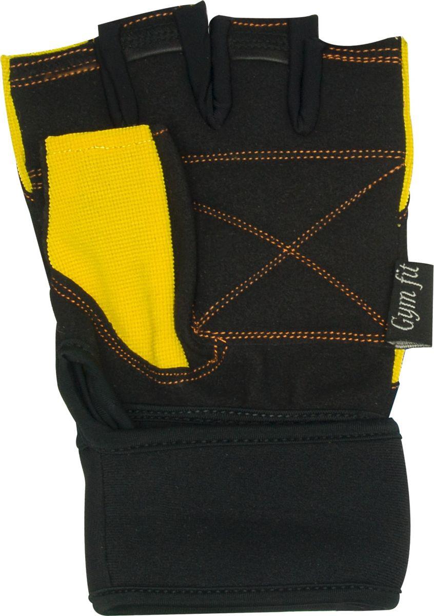 Перчатки для фитнеса Starfit  SU-121 , цвет: черный, желтый. Размер L - Одежда, экипировка