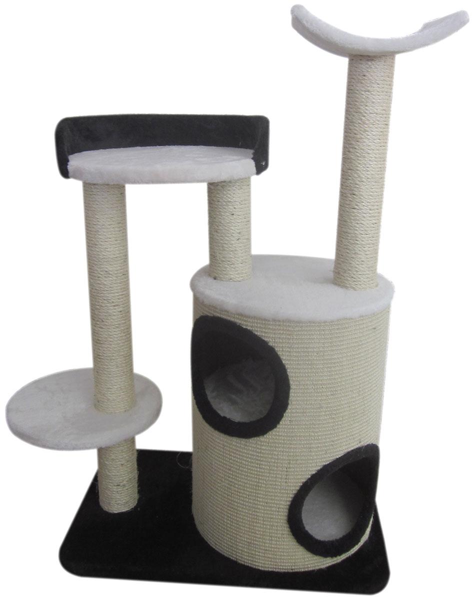 Игровой комплекс для кошек Aimigou, 5-ярусный, цвет: кремовый, черный, белый, 71 х 39 х 107 смQQ80308A-1Игровой комплекс Aimigou выполнен из высококачественного ДСП и обтянут искусственным мехом. Изделие предназначено для кошек. Комплекс имеет 5 ярусов. Ваш домашний питомец будет с удовольствием точить когти о специальные столбики, изготовленные из сизаля. А отдохнуть он сможет либо на полках, либо в расположенном внизу домике. Игровой комплекс Aimigou принесет пользу не только вашему питомцу, но и вам, так как он сохранит мебель от когтей и шерсти.Поставляется в разобранном виде. Комплектуется инструкцией по сборке.Общий размер: 71 х 39 х 107 см.Диаметр домика: 36 см.Высота домика: 49 см.