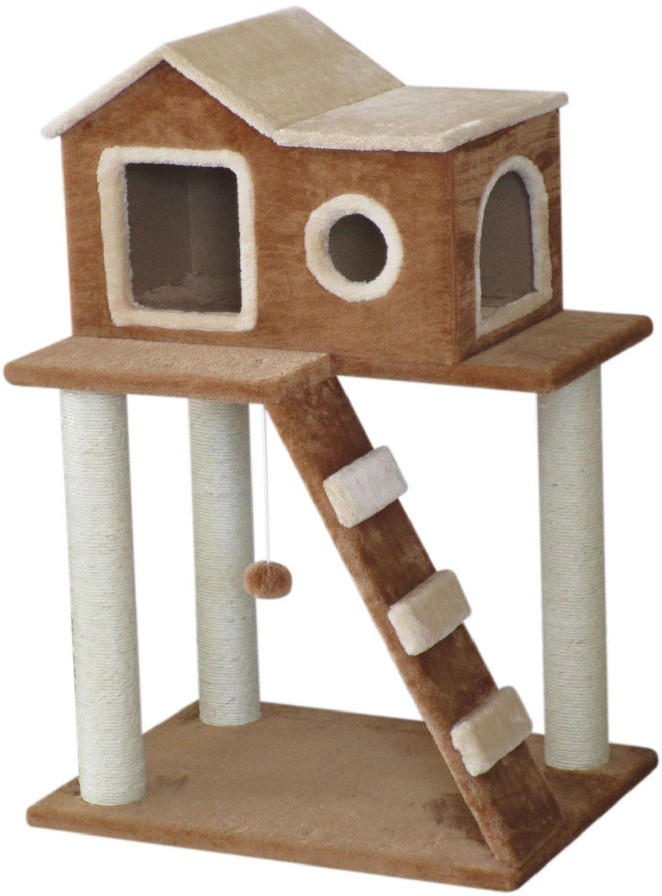 Игровой комплекс для кошек Aimigou, 2-ярусный, цвет: коричневый, бежевый, белый, 45 х 60 х 86 см0120710Игровой комплекс Aimigou выполнен из высококачественного ДСП и обтянут искусственным мехом. Изделие предназначено для кошек. Комплекс имеет 2 яруса. Ваш домашний питомец будет с удовольствием точить когти о специальные столбики, изготовленные из сизаля. А отдохнуть он сможет в уютном домике. Игровой комплекс Aimigou принесет пользу не только вашему питомцу, но и вам, так как он сохранит мебель от когтей и шерсти.Поставляется в разобранном виде. Комплектуется инструкцией по сборке.Общий размер: 45 х 60 х 86 см.Размер домика: 30 х 45 х 34 см.