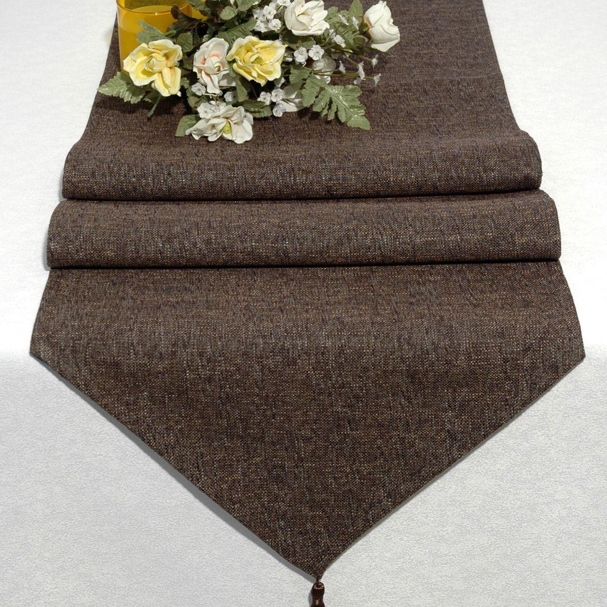 Дорожка для декорирования стола Schaefer, 40 x 160 см, цвет: коричневый. 06749-254VT-1520(SR)Дорожка для декорирования стола Schaefer может быть использована, как основной элемент, так и дополнение для создания уюта и романтического настроения.Дорожка выполнена из полиэстера. Изделие легко стирать: оно не мнется, не садится и быстро сохнет, более долговечно, чем изделие из натуральных волокон.Материал: полиэстер, акрил Размер: 40 x 160 см.