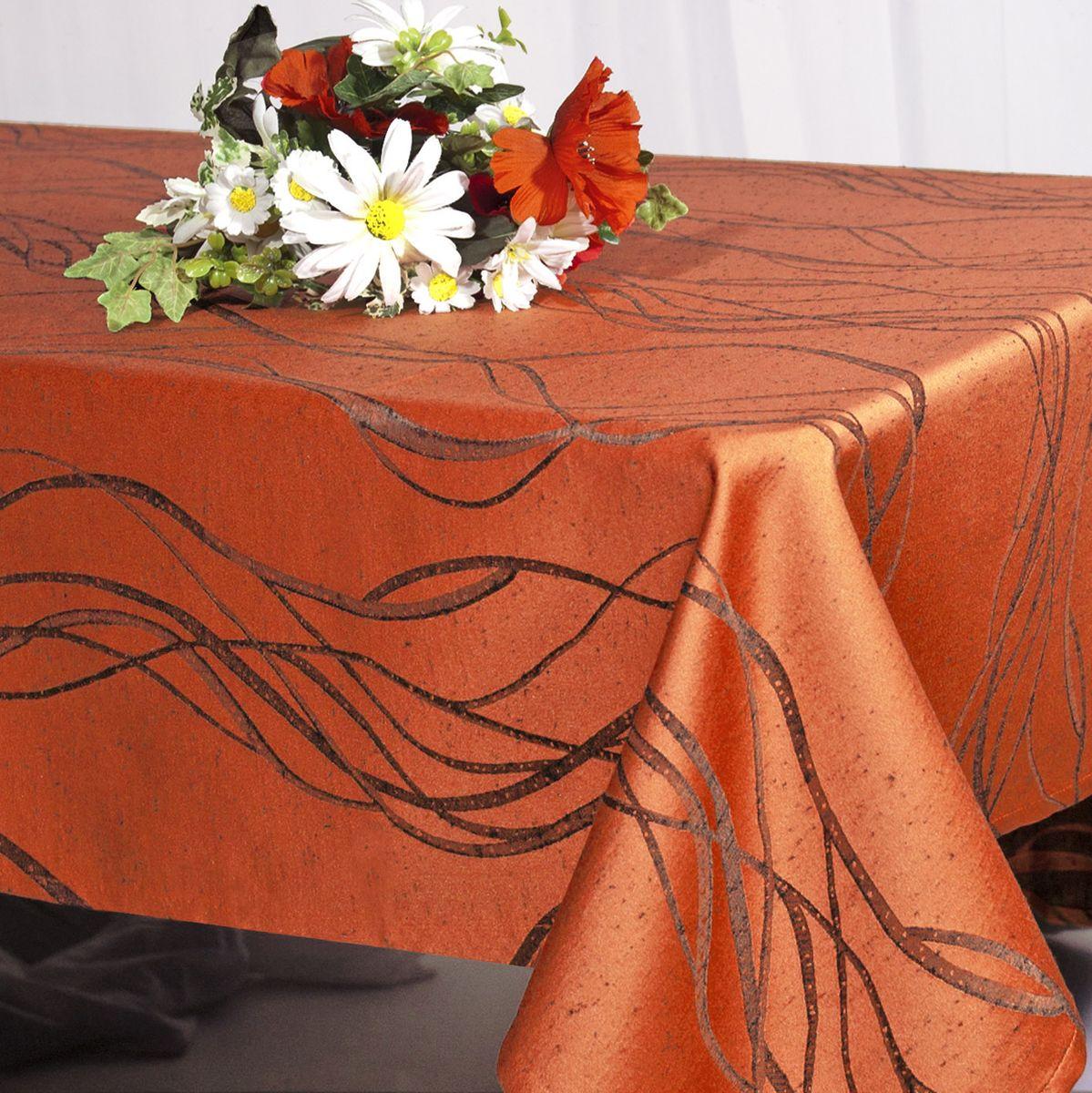 Скатерть Schaefer, прямоугольная, цвет: коричнево-красный, 140 х 170 см. 06929-430 гардина schaefer на петлях цвет оранжевый черный 140 см х 245 см 06929 596
