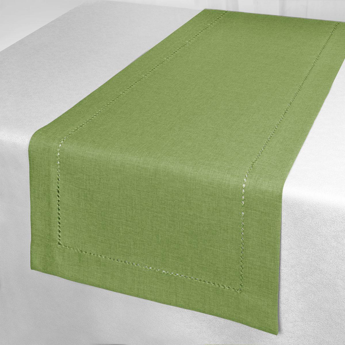 Дорожка для декорирования стола Schaefer, 40 x 140 см, цвет: зеленый. 07602-211VT-1520(SR)Дорожка для декорирования стола Schaefer может быть использована, как основной элемент, так и дополнение для создания уюта и романтического настроения.Дорожка выполнена из полиэстера. Изделие легко стирать: оно не мнется, не садится и быстро сохнет, более долговечно, чем изделие из натуральных волокон.Материал: 100% полиэстер.Размер: 40 x 140 см
