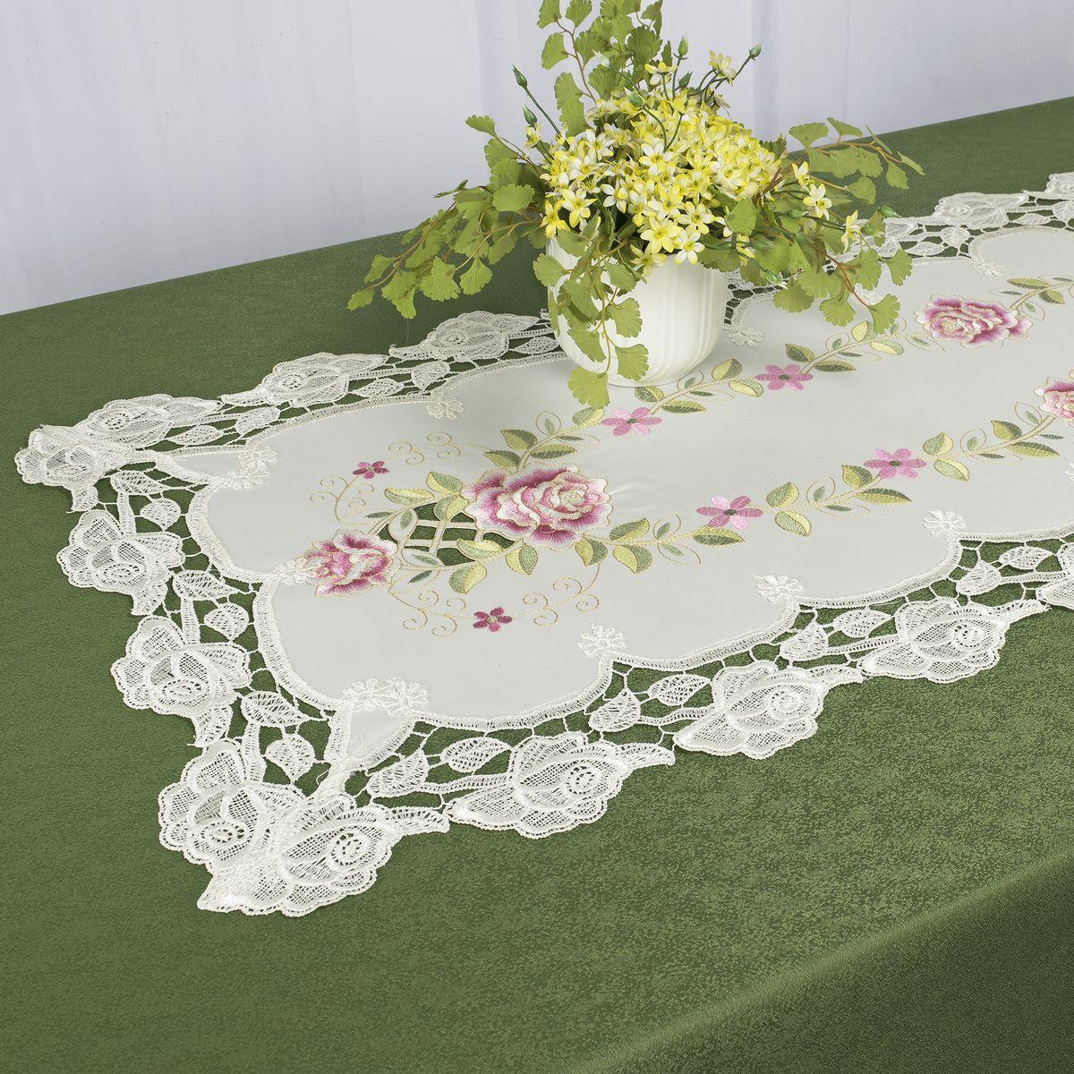 Дорожка для декорирования стола Schaefer, 40 x 110 см, цвет: белый. 07686-233VT-1520(SR)Дорожка для декорирования стола Schaefer может быть использована, как основной элемент, так и дополнение для создания уюта и романтического настроения.Дорожка выполнена из полиэстера. Изделие легко стирать: оно не мнется, не садится и быстро сохнет, более долговечно, чем изделие из натуральных волокон.Материал: 100% полиэстер.Размер: 40 x 110 см