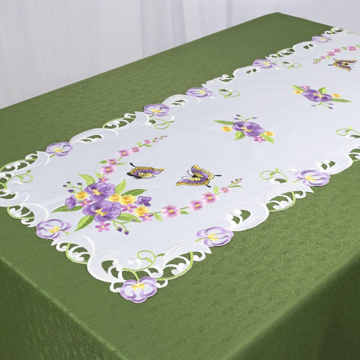 Дорожка для декорирования стола Schaefer, 40 x 110 см, цвет: белый, фиолетовый. 07745-233VT-1520(SR)Дорожка для декорирования стола Schaefer может быть использована, как основной элемент, так и дополнение для создания уюта и романтического настроения.Дорожка выполнена из полиэстера. Изделие легко стирать: оно не мнется, не садится и быстро сохнет, более долговечно, чем изделие из натуральных волокон.Материал: 100% полиэстер.Размер: 40 x 110 см.