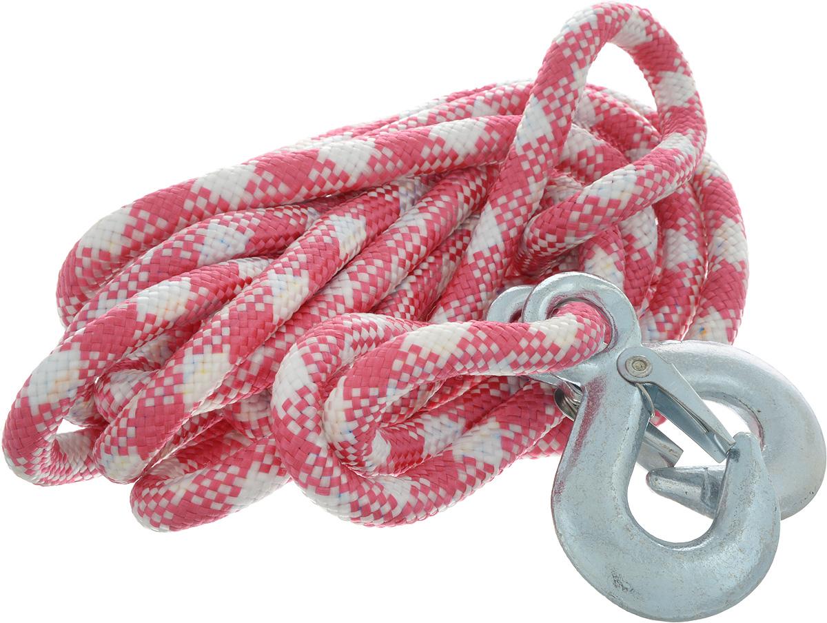 Трос-шнур альпинистский Главдор, с 2 крюками, цвет: малиновый, белый, диаметр 12 мм, 3,5 т, 4,95 мATR-D-5Альпинистский трос Главдор представляет собой шнур из сверхпрочной полипропиленовой нити с двумя стальными крюками. Специальное плетение веревки обеспечивает эластичность троса и плавный старт автомобиля при буксировке. На протяжении всего срока службы не меняет свои линейные размеры.Трос морозостойкий и влагостойкий. Длина троса соответствует ПДД РФ.Буксировочный трос обязательно должен быть в каждом автомобиле. Он необходим на случай аварийной ситуации или если ваш автомобиль застрял на бездорожье. Максимальная нагрузка: 3,5 т.Длина троса: 4,95 м.Диаметр троса: 12 мм.