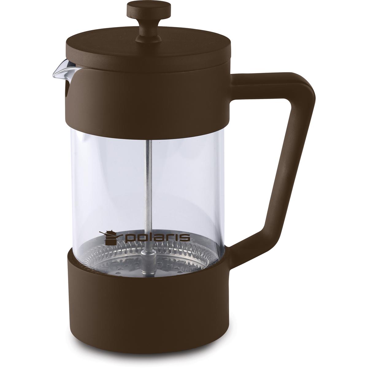 Френч-пресс Polaris Etna-600FP, 600 мл68/5/3Френч-пресс Polaris Etna выполнен из высококачественного пластика. Подходит для заваривания кофе и чая. Колба изготовлена из жаропрочного стекла. Эргономичный поршень с фильтром выполнен из нержавеющей стали 18/10.
