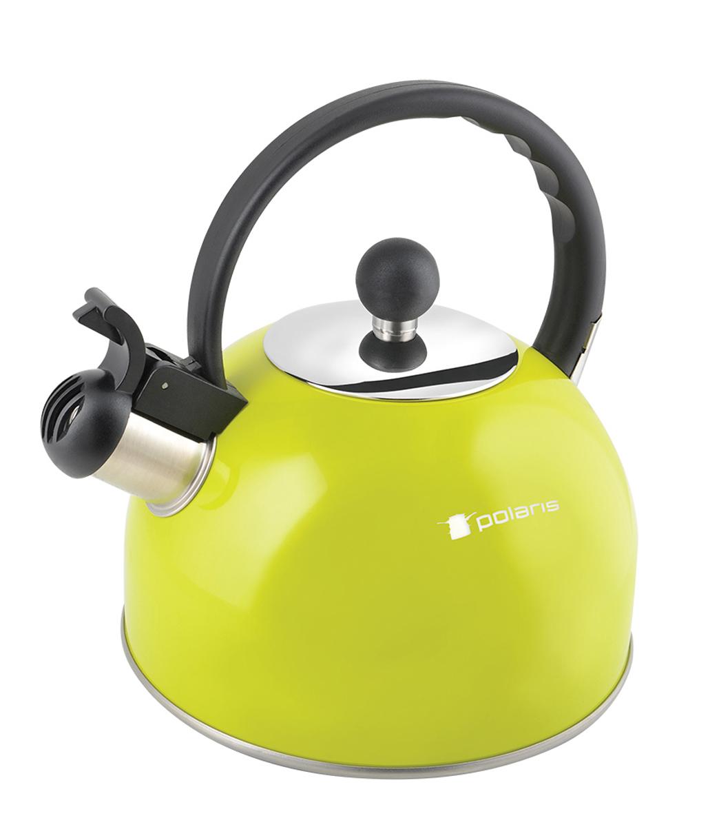 Чайник Polaris Lime-2,2L, со свистком, 2,2 лVT-1520(SR)Чайник Polaris Lime-2,2L со свистком изготовлен из высококачественной нержавеющей стали 18/10. Клапан открывается кнопкой на ручке. Эргономичная бакелитовая ручка не нагревается и не скользит. Ступенчатый корпус увеличивает площадь нагрева. Комбинированная крышка выполнена из бакелита и нержавеющей стали. Сатинированная полировка корпуса. Объем: 2,2 л.