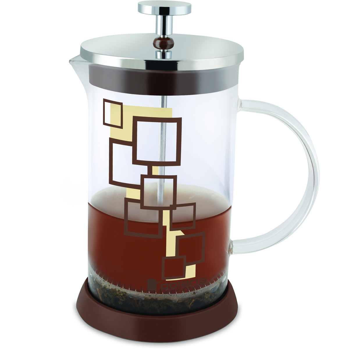 Френч-пресс Polaris Pixel-800FP, 800 млVT-1520(SR)Эксклюзивный дизайн. Френч-пресс Polaris Pixel подходит для заваривания кофе и чая.Колба изготовлена из жаропрочного стекла. Эргономичный поршень с фильтром выполнен из нержавеющей стали 18/10. Подставка из высококачественного силикона для удобства использования.