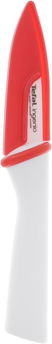 Нож для овощей и фруктов Tefal Ingenio White, керамический, с чехлом, длина лезвия 8 смK1530314Нож Tefal Ingenio White идеально подходит для нарезки овощей, фруктов и других продуктов. Лезвие ножа изготовлено из высококачественной керамики.Керамическое лезвие при надлежащем обращении длительное время сохраняет свою остроту и редко нуждается в заточке. Эргономичная ручка, выполненная из пластика, не скользит в руках и делает резку удобной и безопасной.Процесс резки происходит плавно и легко. Нож не оставляет после себя запаха и послевкусия, что позволяет полностью сохранить свежесть продуктов. Такой нож станет незаменимым помощником на вашей кухне и займет достойное место среди кухонныхаксессуаров. Общая длина ножа: 18 см. Длина лезвия: 8 см. Можно мыть в посудомоечной машине.
