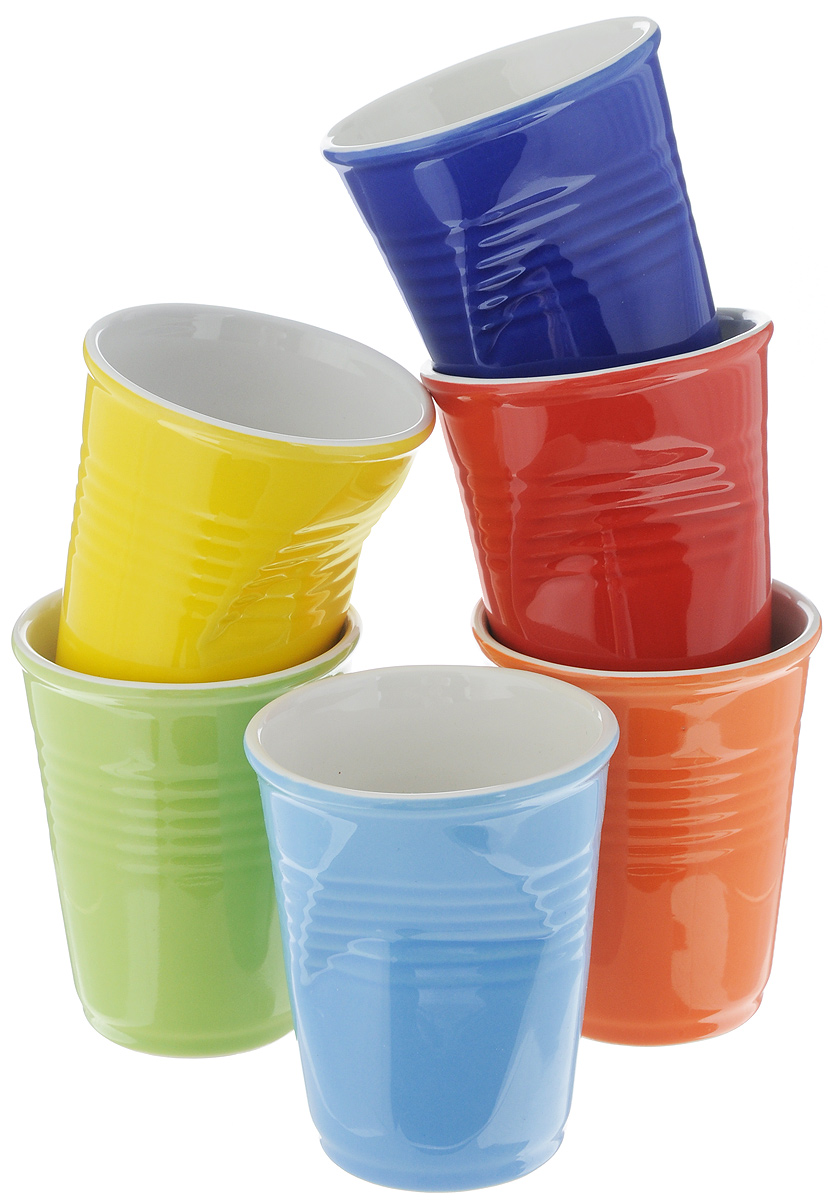 Набор стаканов Elan Gallery Разноцветные, 200 мл, 6 шт504066Набор Elan Gallery Разноцветные состоит из 6 стаканов, выполненных из высококачественной керамики. Необычные мятые стаканы разных цветов поднимут настроение любой компании. Набор стаканов Elan Gallery станет также отличным подарком на любой праздник. Подходит для горячих и холодных напитков. Не рекомендуется применять абразивные моющие средства. Не использовать в микроволновой печи. Диаметр стакана (по верхнему краю): 7 см. Высота стакана: 9 см.