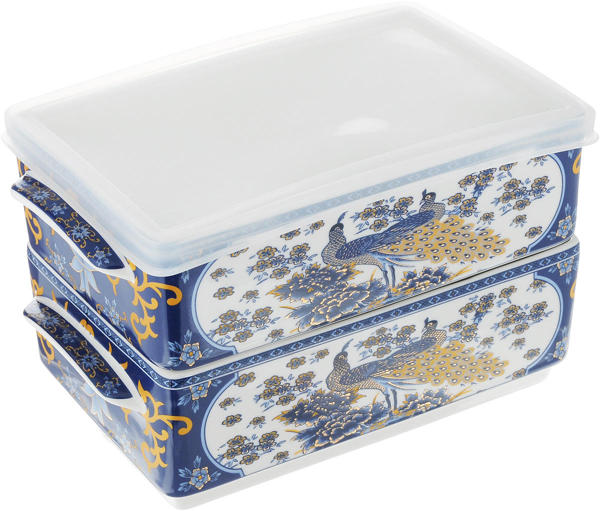 Набор блюд для холодца Elan Gallery Павлин синий, 800 мл, 2 шт115510Блюда для холодца Elan Gallery Синий павлин, изготовленные из высококачественной керамики, предназначены для приготовления ихранения заливного или холодца. Пластиковая крышка, входящая в комплект, сохранит свежесть вашего блюда. Также блюда можноиспользовать для приготовления и хранения салатов. Изделия оформлены оригинальным рисунком. Такие блюда украсятсервировку вашего стола и подчеркнут прекрасный вкус хозяйки.Не рекомендуется применять абразивные моющие средства. Не использовать в микроволновой печи. Размер блюд (без учета ручек и крышки): 17,2 х 11,5 х 6 см.Объем блюд: 800 мл.
