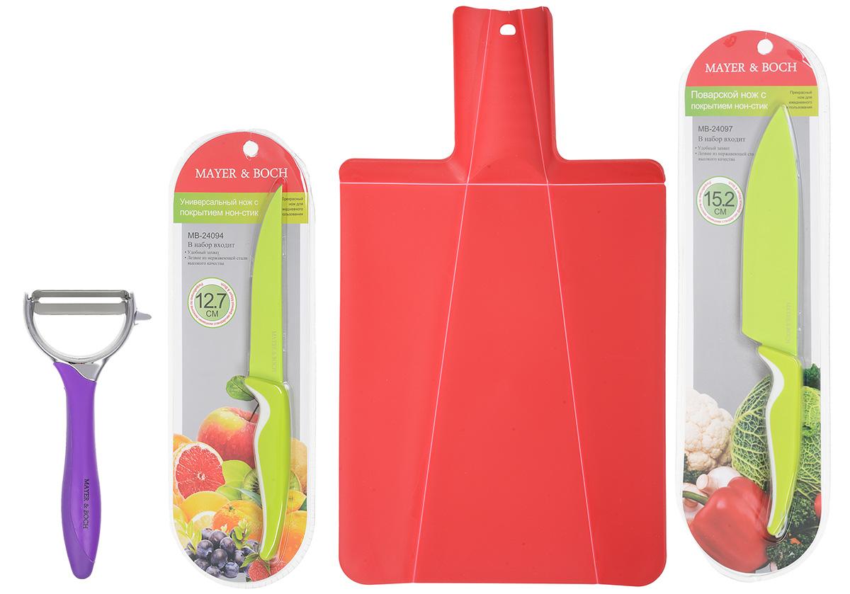 Набор для кухни Mayer & Boch, цвет: красный, салатовый, фиолетовый, 4 предмета54 009312Набор для кухни Mayer & Boch включает разделочную доску, поварской нож, универсальный нож и картофелечистку. Складная разделочная доска выполнена из пищевого полипропилена. Трансформация достигается за счет подвижных сгибов материала. Умный дизайн рукоятки позволяет с легкостью складывать, а также разворачивать доску. При сжатии ручки края доски складываются, образуя форму лотка. Это позволяет с легкостью и быстротой переносить нарезанные продукты. Эта доска не помнется, не сломается, не пойдет трещинами, что выгодно отличает ее от деревянных. В набор также входит поварской нож и универсальный нож. Лезвия ножей выполнены из нержавеющей стали с покрытием non-stick, которое предотвращает прилипание продуктов. Рукоятка выполнена из полипропилена и снабжена прорезиненными вставками. Специальный дизайн рукоятки обеспечивает комфортный и легко контролируемый захват. Ножи идеальны для ежедневной резки фруктов, овощей, мяса и других продуктов. Картофелечистка предназначена для быстрой очистки картофеля и других овощей. Лезвие выполнено из качественного металла, рукоятка изготовлена из мягкого ABS пластика, а корпус - из цинкового сплава и титана. Прибор снабжен устройством для очистки глазков с картофеля. Его удобно держать в руке и использовать без лишних усилий. Набор для кухни Mayer & Boch содержит все необходимые предметы, которые помогут вам в приготовлении пищи. Размер разделочной доски: 37 х 21 см. Длина лезвия поварского ножа: 15,2 см. Длина поварского ножа: 27 см. Длина лезвия универсального ножа: 12,7 см. Длина универсального ножа: 23,5 см. Длина картофелечистки: 15 см. Длина лезвия картофелечистки: 5 см.