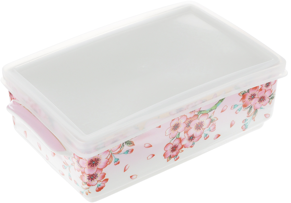 Блюдо для холодца Elan Gallery Сакура, 800 мл115510Блюдо для холодца Elan Gallery Сакура, изготовленное из высококачественной керамики, предназначено для приготовления и хранения заливного или холодца. Пластиковая крышка, входящая в комплект, сохранит свежесть вашего блюда. Также блюдо можно использовать для приготовления и хранения салатов. Оформлено изделие оригинальным рисунком. Такое блюдо украсит сервировку вашего стола и подчеркнет прекрасный вкус хозяйки.Не использовать в микроволновой печи. Размер блюда: 20 х 11,5 х 6 см.