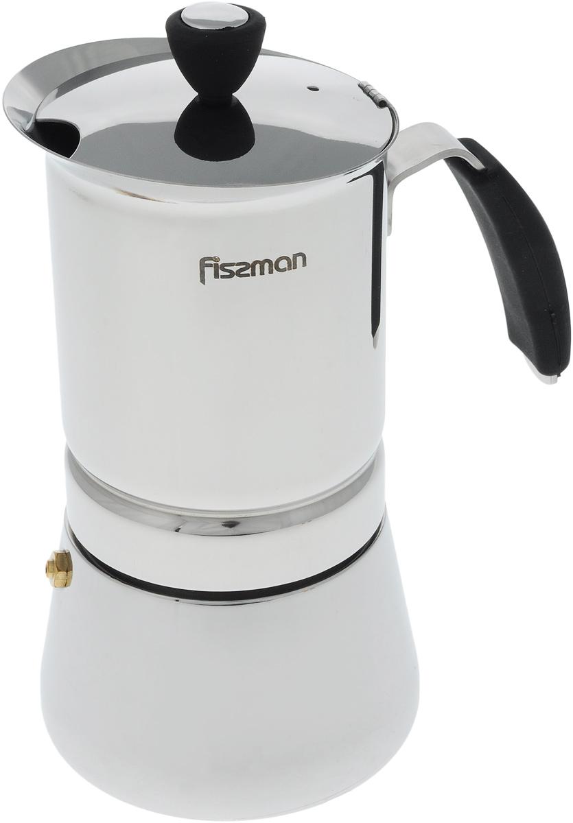 Кофеварка гейзерная Fissman, на 6 порций, 365 мл391602Компактная гейзерная кофеварка Fissman изготовлена из высококачественной нержавеющей стали. Объема кофеварки хватает на 6 порций. Изделие оснащено удобной ручкой из термостойкого пластика. Принцип работы такой гейзерной кофеварки: кофе заваривается путем многократного прохождения горячей воды или пара через слой молотого кофе. Удобство кофеварки в том, что вся кофейная гуща остается во внутренней емкости. Гейзерные кофеварки пользуются большой популярностью благодаря изысканному аромату. Кофе получается крепким и насыщенным. Теперь и дома вы сможете насладиться великолепным эспрессо. Подходит для газовых, индукционных, электрических истеклокерамических плит.Диаметр кофеварки (по верхнему краю): 9,5 см. Высота (с учетом крышки): 19 см.