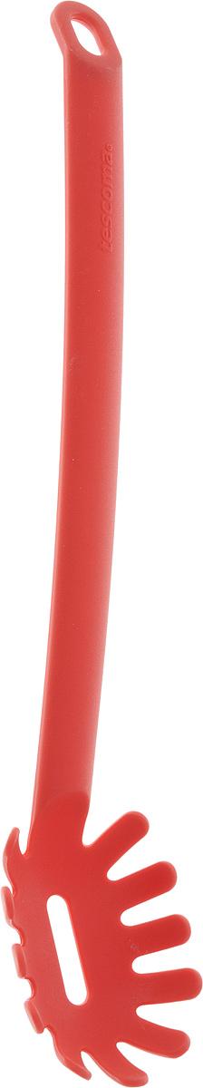 Ложка для спагетти Tescoma Space Tone, цвет: красный, длина 31,5 см54 009312Ложка для спагетти Tescoma Space Tone изготовлена из высококачественного термостойкогонейлона. Эргономичная рукоятка обеспечивает надежный хват, а небольшое отверстиепозволит подвесить изделие в удобном для вас месте. Благодаря такой ложке, вы сможетеаккуратно и без проблем накладывать пасту порционно в каждую тарелку - при этом длинныеспагетти не ломаются и сохраняют прекрасный вид. Можно мыть в посудомоечной машине.Общая длина ложки: 31,5 см. Размер рабочей поверхности: 8,5 х 6 х 2,5 см.