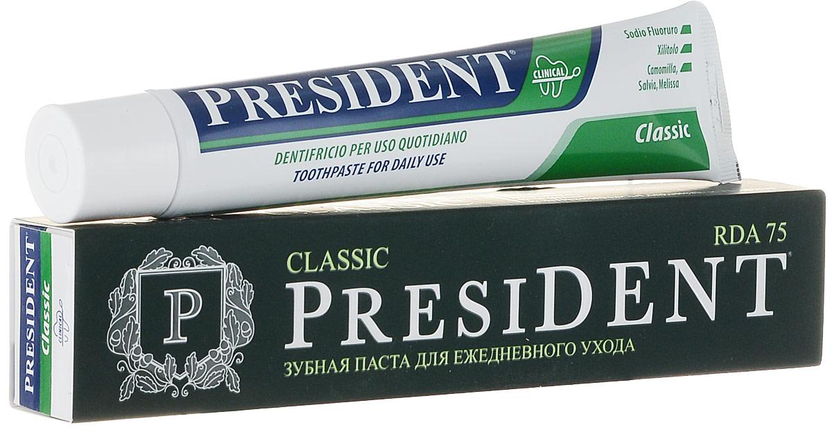 Зубная паста President Classic, 75 млSatin Hair 7 BR730MNЗубная паста President Classic содержит ксилитол, натрия фторид, масло мяты, экстракты шалфея, ромашки, мелиссы. Способствует минерализации эмали, предотвращает кровоточивость и воспаление, защищает от кариеса и зубного камня, надолго освежает дыхание.Характеристики:Объем: 75 мл. Размер упаковки: 19 см х 4 см х 3 см. Производитель: Италия.Артикул:4310-500777.Товар сертифицирован.