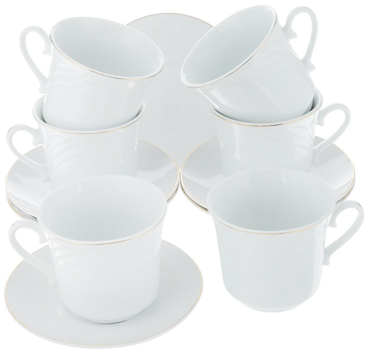 Набор чайный Loraine, 12 предметов. 25615VT-1520(SR)Чайный набор Loraine состоит из 6 чашек и 6 блюдец, выполненных из высококачественного фарфора. Такой набор дополнит сервировку стола к чаепитию.Благодаря изысканному дизайну и качеству исполнения он станетзамечательным подарком для ваших друзей и близких. Набор упакован в подарочную коробку, задрапированную белойатласной тканью. Объем чашки: 220 мл. Диаметр чашки по верхнему краю: 8,5 см. Высота чашки: 7,5 см. Диаметр блюдца: 13,5 см.Высота блюдца: 2 см.