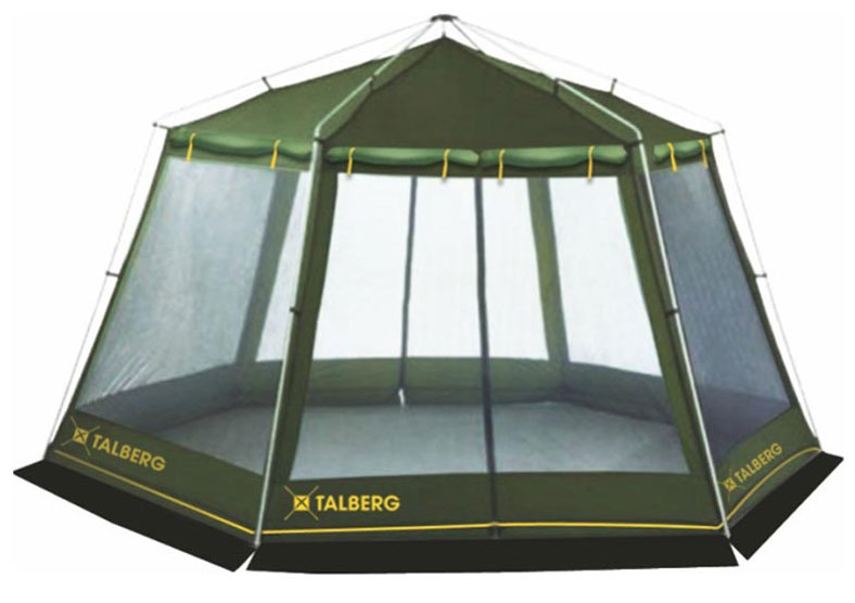 Шатер Talberg Arbour, цвет: зеленый41710Большой каркасный шатер Talberg Arbour без дна. Предназначен для размещения кухни или столовой в палаточном городке, где отдыхает много народу. Тент выполнен из прочного водоустойчивого полиэстера. Шатер имеет 2 входа с двух противоположных сторон и ветрозащитную юбку.Окна выполнены из москитной сетки и со всех сторон снаружи закрываются тканевыми занавесками на липучках изводонепроницаемой ткани. Занавески скручиваются вверх. Штормовые оттяжки есть в верху боковых стенок и посередине. Характеристики: Размер шатра в разложенном виде (ДхШхВ): 420 см х 370 см х 240 см. Наружный тент: Polyester 190T/75D 5000 мм. Каркас:дуги из стали диаметром 19 мм. Вес:10 кг.