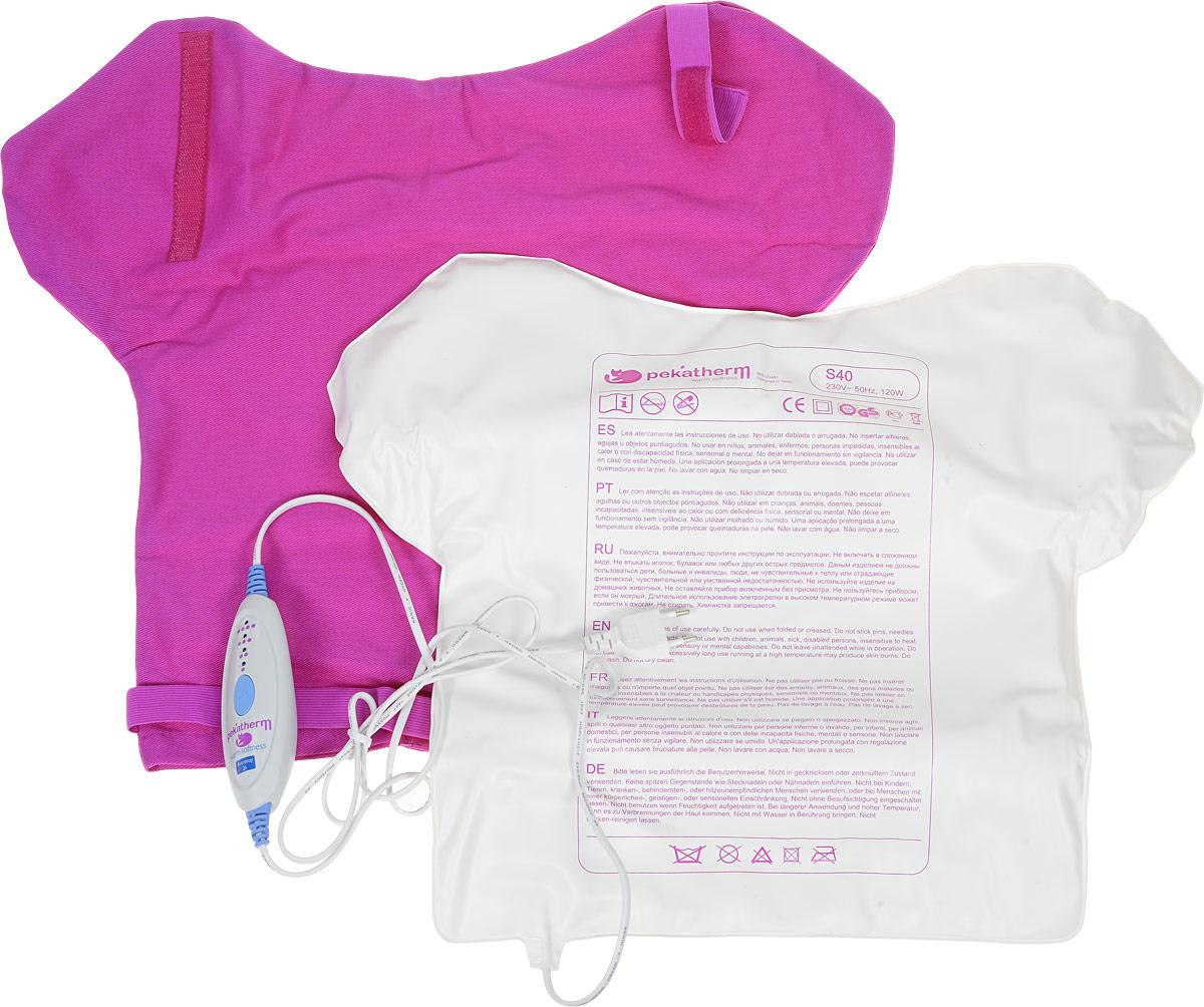 Грелка для спины Pekatherm S40ES-412Электрогрелка Pekatherm S40 охватывает обширную зону спины, шеи и плеч, избавляя от напряжения и боли, благодаря лечебному эффекту мягкого тепла.Суть любой грелки - тепло. Тепло - это инструмент заботы о здоровье, тепло - источник отличного самочувствия. Оно помогает нам справляться с болезнями, такими как остеохондроз, артроз, переломы и вывихи, неврит, радикулит, невралгии, циститы, помогает нам нормализовать функции организма после длительного пребывания на холоде.Впрочем, тепло полезно не только с медицинской точки зрения. Комфорт, спокойствие, отдых, уют - это первое, что приходит на ум. Мягкая, приятная теплота избавит от депрессии, подарит чувство уверенности и защищенности, поможет расслабиться и просто поднимет вам настроение!Температура нагрева от 50 до 70 градусов, в зависимости от выбранного режима. Электрогрелка сделана из приятного на ощупь практичного пластика, который легко моется, обладает нейтральным запахом и не вызывает аллергических реакций, что подтверждено Санитарно-эпидемиологическое заключением Роспотребнадзора. Электрогрелка прошита двойным швом, который гарантирует, что после стирки грелка сохранит свой внешний вид. Pekatherm S40 – абсолютно безопасна в использовании, так как применяемый двойной нагревательный элемент, не позволяет грелке нагреваться до температур, которые могут вызвать возгорание, а пульт с микропроцессором тестирует грелку на исправность при каждом включении, изделие так же обладает функцией автоотключения по прошествии двух часов (если Вы забыли это сделать сами). Электрогрелка оснащена двумя предохранителями различной чувствительности.Эксклюзивная разработка компании – функция сверхбыстрого нагрева UltraFast, которая позволяет нагреваться до максимальных температур в два раза быстрее продукции конкурентов, а тепло Вы почувствуете уже через 15 секунд после включения электрогрелки Pekatherm S40 (для сравнения данный показатель в продукции конкурентов – несколько минут). Электронный пул
