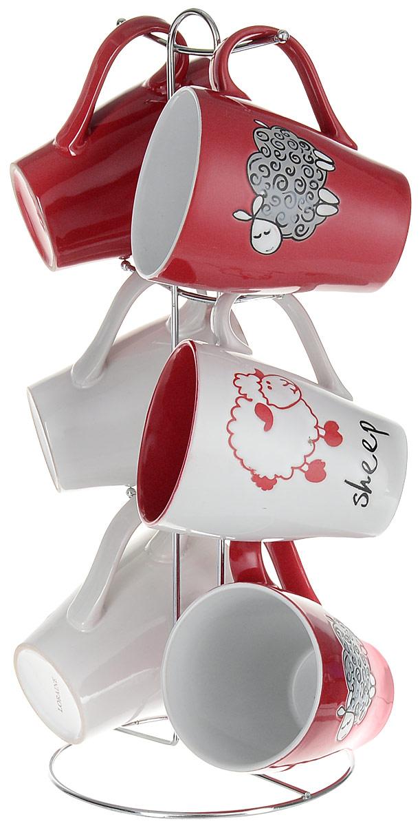 Набор кружек Loraine, на подставке, 7 предметов. 24656VT-1520(SR)Набор Loraine состоит из 6 кружек и подставки. Кружки изготовлены из глазурованной керамики и украшены рисунком в виде барашков. Теплостойкие ручки обеспечивают комфортное использование. Кружки подходят для горячих и холодных напитков. Изящный дизайн придется по вкусу и ценителям классики, и тем, кто предпочитает современный стиль. Он настроит на позитивный лад и подарит хорошее настроение с самого утра. В комплекте - металлическая подставка с крючками для подвешивания кружек. Набор кружек - идеальный и необходимый подарок для вашего дома и для ваших друзей на праздники, юбилеи и торжества. Кружки подходят для мытья в посудомоечной машине, можно использовать в СВЧ и ставить в холодильник. Объем кружек: 390 мл. Диаметр кружки (по верхнему краю): 8,5 см. Высота кружки: 11 см. Размер подставки: 15,5 х 15,5 х 37 см.