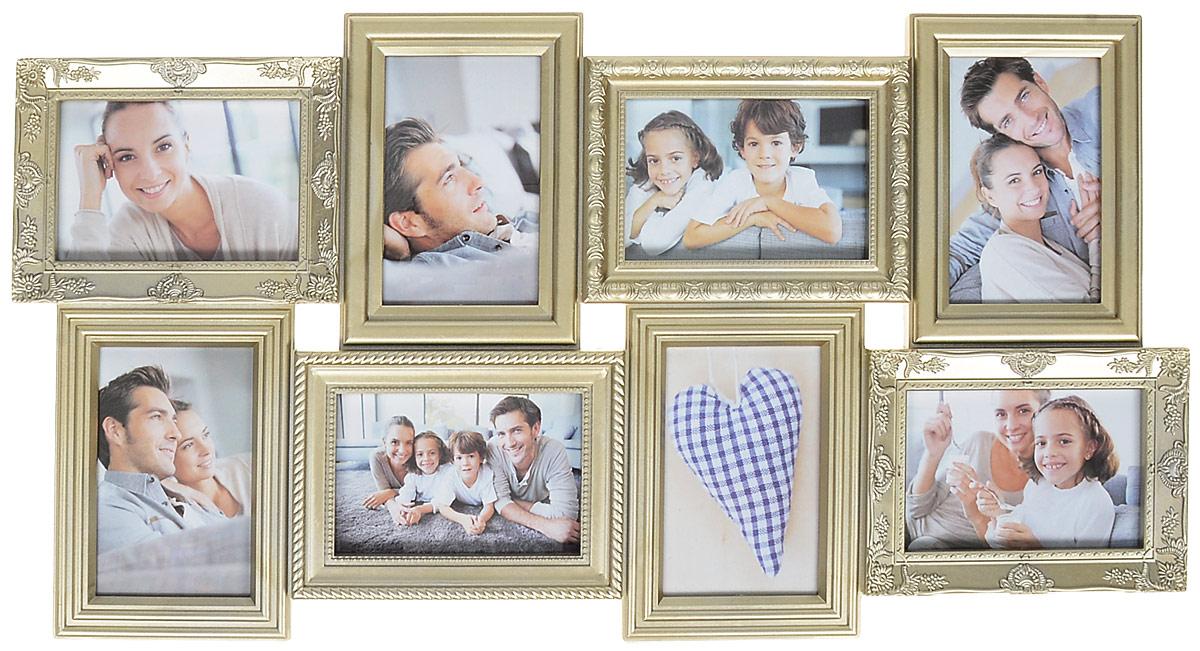 Фоторамка Platinum, цвет: шампань, на 8 фото 10 х 15 смБрелок для ключейФоторамка Platinum - прекрасный способ красиво оформить ваши фотографии. Фоторамка выполнена из пластика и защищена стеклом. Фоторамка-коллаж представляет собой восемь фоторамок для фото одного размера оригинально соединенных между собой. Такая фоторамка поможет сохранить в памяти самые яркие моменты вашей жизни, а стильный дизайн сделает ее прекрасным дополнением интерьера комнаты.Фоторамка подходит для фотографий 10 х 15 см.Общий размер фоторамки: 35 х 68 см.