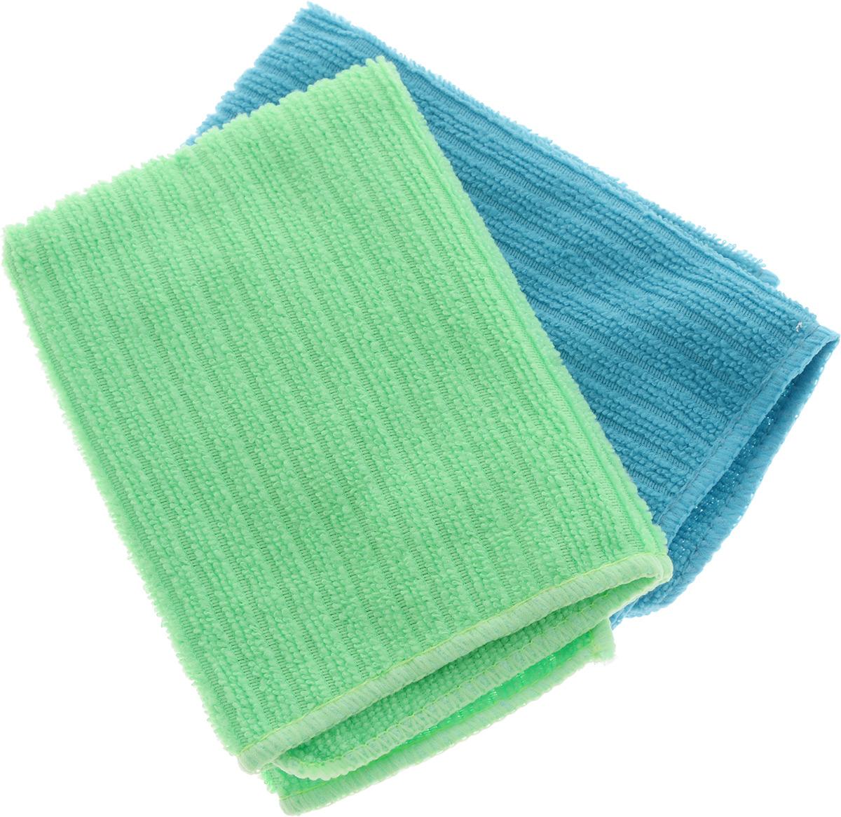 Салфетка из микрофибры Home Queen, цвет: бирюзовый, салатовый, 30 х 30 см, 2 штTF-14AU-12Салфетка Home Queen изготовлена из микрофибры (100% полиэстер). Это великолепная гипоаллергенная ткань, изготовленная из тончайших полимерных микроволокон. Салфетка из микрофибры может поглощать количество пыли и влаги, в 7 раз превышающее ее собственный вес. Многочисленные поры между микроволокнами, благодаря капиллярному эффекту, мгновенно впитывают воду, подобно губке. Благодаря мелким порам микроволокна, любые капельки, остающиеся на чистящей поверхности, очень быстро испаряются, и остается чистая дорожка без полос и разводов. В сухом виде при вытирании поверхности волокна микрофибры электризуются и притягивают к себе микробов, мельчайшие частицы пыли и грязи, удерживая их в своих микропорах.Размер салфетки: 30 х 30 см.