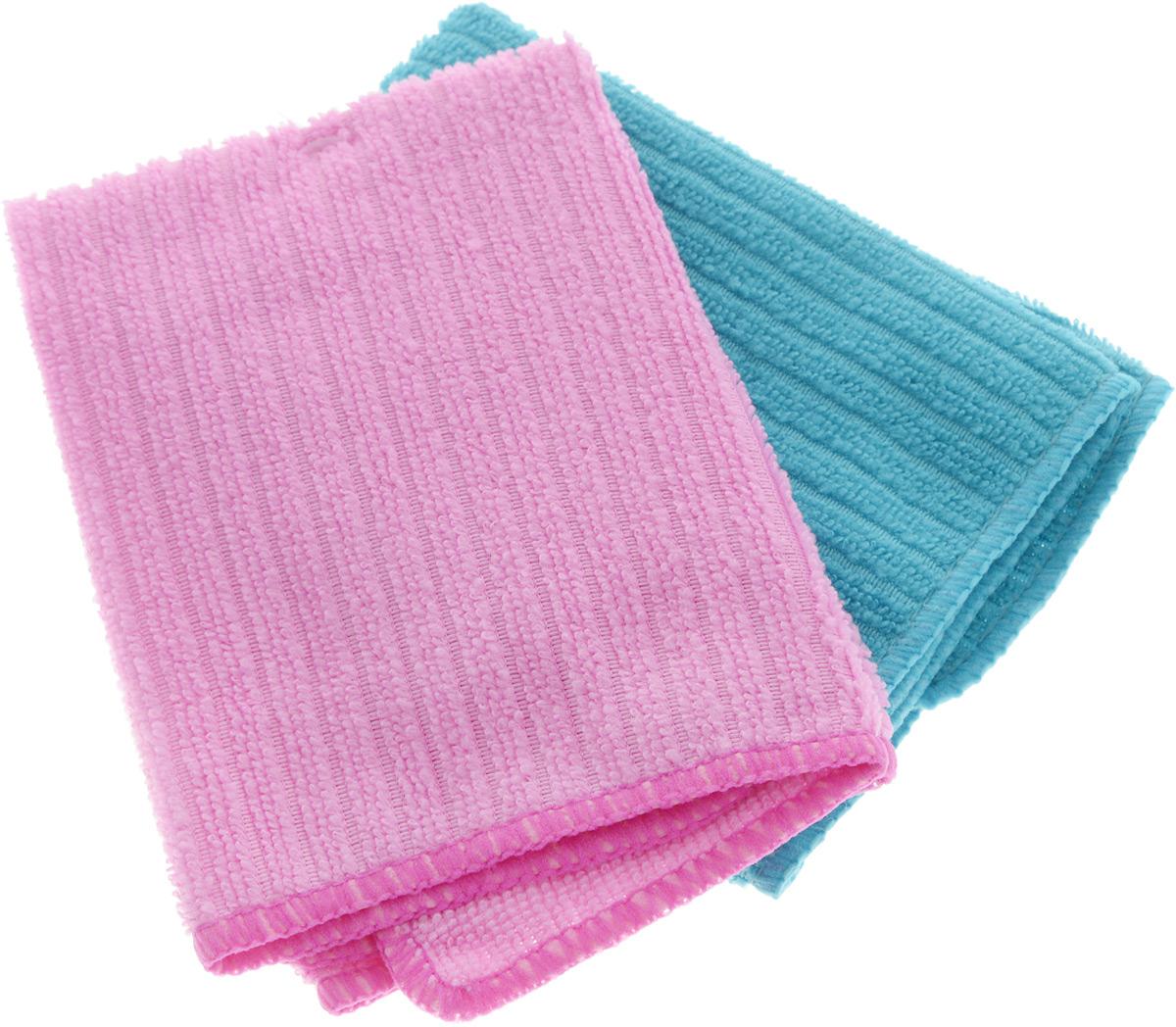 Салфетка из микрофибры Home Queen, цвет: бирюзовый, розовый, 30 х 30 см, 2 шт540024Салфетка Home Queen изготовлена из микрофибры (100% полиэстер). Это великолепная гипоаллергенная ткань, изготовленная из тончайших полимерных микроволокон. Салфетка из микрофибры может поглощать количество пыли и влаги, в 7 раз превышающее ее собственный вес. Многочисленные поры между микроволокнами, благодаря капиллярному эффекту, мгновенно впитывают воду, подобно губке. Благодаря мелким порам микроволокна, любые капельки, остающиеся на чистящей поверхности, очень быстро испаряются, и остается чистая дорожка без полос и разводов. В сухом виде при вытирании поверхности волокна микрофибры электризуются и притягивают к себе микробов, мельчайшие частицы пыли и грязи, удерживая их в своих микропорах.Размер салфетки: 30 х 30 см.