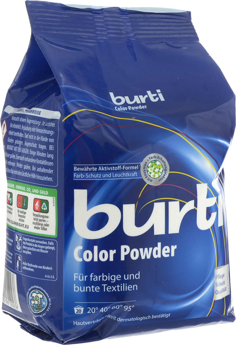 Стиральный порошок Burti Color, для цветного белья, 1,5 кг19201Burti Color - великолепный стиральный порошок для ухода за цветным бельем. Burti Color благодаря самым современным комбинациям поверхностно-активных веществ заботится о безупречной чистоте белья. Порошок имеет тройную систему защиты цвета и систему защиты от известкового налета. Порошок обладает системой анти-пилинг, которая предотвращает образование катышков, портящих вид ткани. Burti Color не содержит фосфатов, дерматологически тестирован, гигиеничен и гипоаллергенен. Товар сертифицирован.