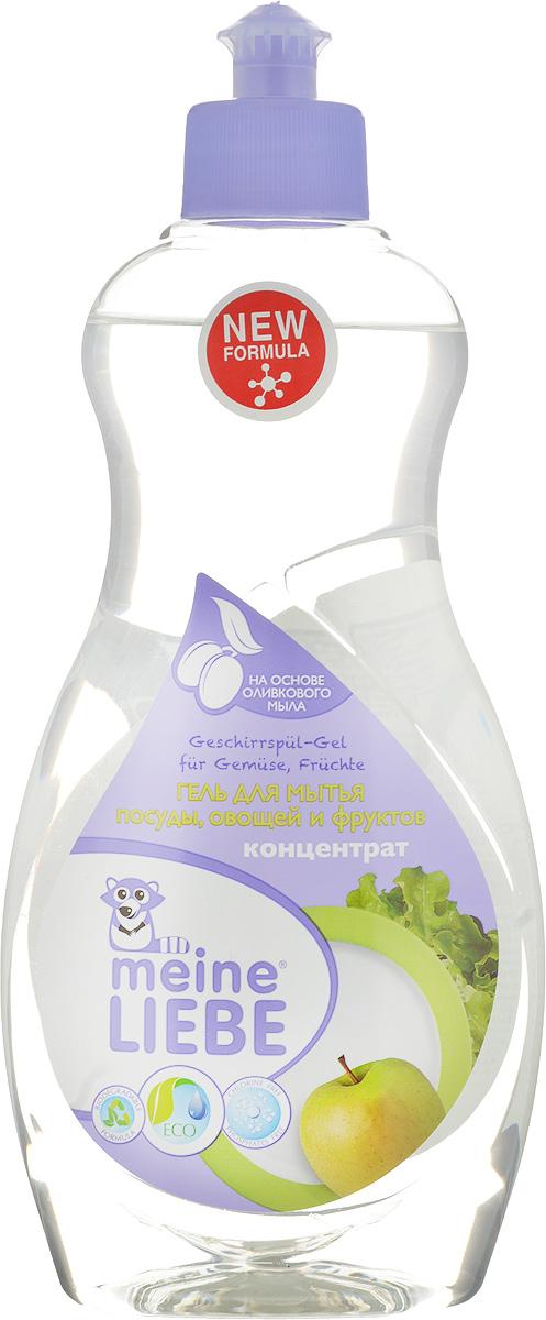 Гель для мытья посуды, фруктов и овощей Meine Liebe, концентрат, 500 мл391602Специальное концентрированное универсальное средство Meine Liebe предназначено для мытья посуды, а также подходит для мытья овощей и фруктов. Безопасный сбалансированный состав моющих компонентов легко и эффективно избавит от загрязнений. Поможет очистить фрукты и овощи от следов парафинов и восков, от прочих внешних химических, транспортных и бытовых загрязнений. Удалит с посуды жирные, застаревшие и прочие загрязнения даже в холодной воде. Экологически чистый моющий компонент - оливковое мыло, обеспечивает мягкое и деликатное действие на кожу рук.Полностью смывается водой. Безопасная биоразлагаемая формула. Не содержит фосфатов, хлора, красителей, формальдегидов и растворителей. Состав: деминерализованная вода, 5-15% анионные ПАВ, Товар сертифицирован.