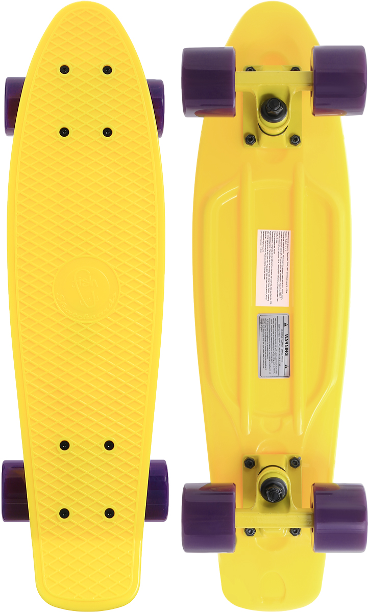 "Скейтборд пластиковый ""Fish"", цвет: желтый, сиреневый, дека 56 х 15 см"