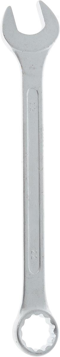 Ключ гаечный комбинированный Helfer, 22 мм80621Комбинированный ключ Helfer предназначен для работы с резьбовыми соединениями. Разрезные головки ключей обеспечивают надежный обхват детали и большой крутящий момент. Размеры зева (отверстия) отвечают всем стандартам. Ключ выполнен из углеродистой стали, которая отличается повышенной прочностью.Такой инструмент станет отличным помощником монтажнику или владельцу авто. Длина ключа: 26 см.Диаметр головки: 22 мм.