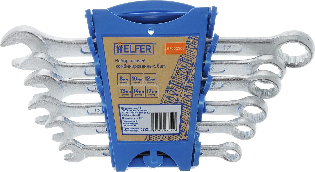 Набор комбинированных гаечных ключей Helfer, 6 предметов11942Набор Helfer включает 6 комбинированных гаечных ключей, выполненных из качественной стали. Благодаря правильному подбору материала и параметров технологического процесса ключи выдерживают высокие нагрузки, устойчивы к истиранию рабочих граней. Применяются для работ с шестигранным крепежом. Комбинированный гаечный ключ - незаменимый инструмент при сборке и разборке любых металлических конструкций. Он сочетает в себе рожковый и накидной гаечные ключи. Первый нужен для работы в труднодоступных местах, второй более эффективен при отворачивании тугого крепежа. Для хранения набора предусмотрен пластиковый держатель.