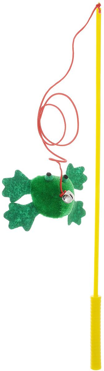 Игрушка для кошек V.I.Pet Дразнилка-удочка с лягушкой, с колокольчиком, цвет: желтый, зеленый, красный, длина 37 смGLG036Игрушка для кошек V.I.Pet Дразнилка-удочка с лягушкой, изготовленная из текстиля, синтепона и пластика, прекрасно подойдет для веселых игр с вашим пушистым любимцем. Играя с этой забавной дразнилкой, маленькие котята развиваются физически, а взрослые кошки и коты поддерживают свой мышечный тонус. Яркая игрушка на конце удочки оснащена колокольчиком и сразу привлечет внимание вашего любимца, не навредит здоровью и увлечет его на долгое время. Длина удочки: 37 см.Размер игрушки: 7,5 х 4 х 2,5 см.