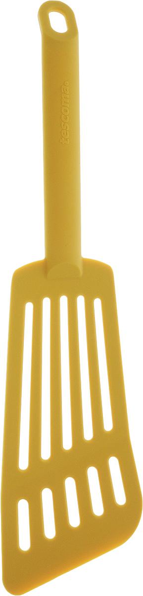 Лопатка для омлета Tescoma Space Tone, цвет: желтый, длина 30 см68/5/4Лопатка Tescoma Space Tone изготовлена из высококачественного термостойкого нейлона, выдерживающего температуру до 210°С, и предназначена для переворачивания и подачи омлета. Такая кухонная принадлежность подходит для всех видов посуды, а также для посуды с антипригарным покрытием. Лопатка Tescoma Space Tone станет вашим незаменимым помощником на кухне, а также это практичный и необходимый подарок любой хозяйке! Можно мыть в посудомоечной машине.Общая длина лопатки: 30 см. Размер рабочей поверхности: 16 х 7,5 см.