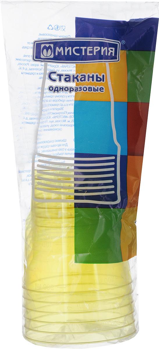 """Набор одноразовых стаканов Мистерия """"Кристалл"""", цвет: желтый, 200 мл, 6 шт"""