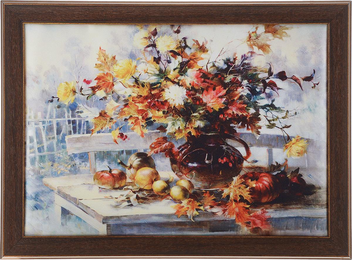 Картина в раме Рапира Краски осени, 38 х 28 смRG-D31SОригинальная картина Рапира Краски осени поможет украсить интерьер, придаст обстановке безмятежность и шик. Рисунок картины выполнен на гладком текстиле. Изделие оформлено в красивую рамку под дерево. Задняя часть картины оснащена двумя петельками для подвешивания. Картина Краски осени идеально подойдет к любому интерьеру и станет отличным подарком.Размер картины (без учета рамки): 33 х 23 см.