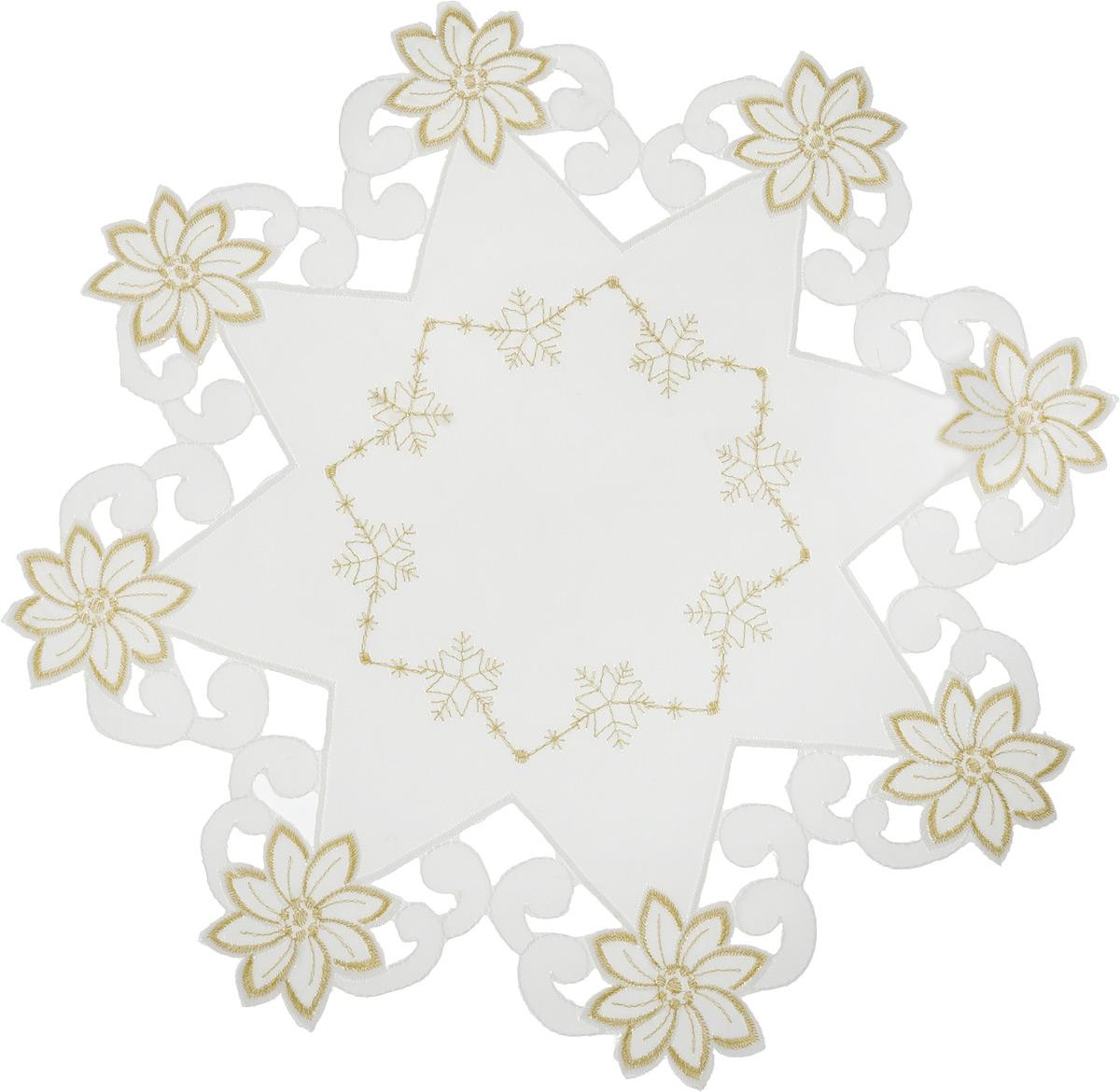 Салфетка Schaefer , круглая, цвет: молочный, золотистый, диаметр 38 см. 07803-3161со4461-22Круглая салфетка Schaefer, выполненная из полиэстера, оформлена декоративной перфорацией и вышивкой. Дизайнерские идеи немецких художников компании Schaefer воплощаются в текстильных изделиях, которые сделают ваш дом красивее и уютнее и не останутся незамеченными вашими гостями. Дарите себе и близким красоту каждый день!Диаметр салфетки: 38 см.